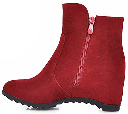 Easemax Women's Sweet Side Zipper Round Toe Faux Suede Mid Wedge Heel Ankle High Booties Red cI6ePJ