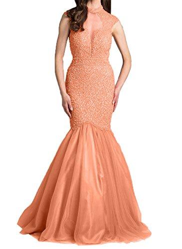 2018 Langes Partykleider mit Promkleider Damen Abendkleider Hell Charmant Orange Meerjungfrau Neu Ballkleider Perlen Etuikleider BFt5nYqw