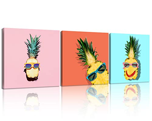 NAN Wind 3 Pieces Modern Canvas Painting Hipster Pineapple Fashion Accessories and Fruits Wall Art Vanilla Style Print On Canvas Stretched and Framed Ready to Hang for Bathroom Decor Nursery Decor