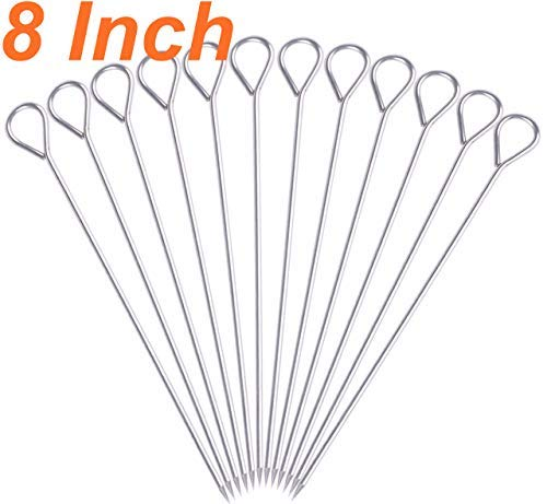 HONSHEN 8 Inch Stainless Steel Skewers,Roast goose needle Barbecue Skewers, BBQ Skewers, Shish Kebab Kabob Skewers 12 pcs (8 Inch)