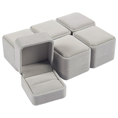 6 Pack Jewelry Box Set - Jewelry Boxes - Velvet Jewelry Box Ring Gift Box Set, Single Ring Box Cases - for Proposal, Engagement, Wedding, Presentation - Grey, 2.5 x 1.7 x 2.2 Inches