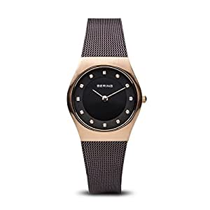 Bering Classic - Reloj analógico de mujer de cuarzo con correa de acero inoxidable negra - sumergible a 50 metros