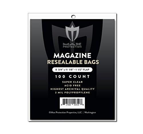 100ct Max Pro Ultra Premium Resealable Magazine Bags - 8-3/4 x 11-1/8 - Acid Free (100)