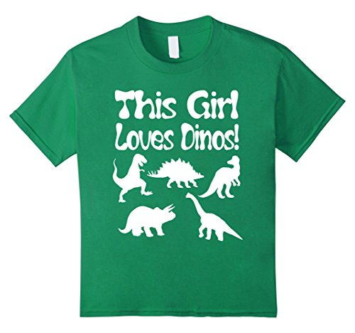 Dinosaurs Youth T-shirt (Kids This Girl Loves Dino's T Shirt - Funny Dinosaur T Shirt Girl 12 Kelly Green)