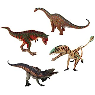 "EAHUMM 9"" to 13"" Jurassic Age Realistic Looking Big Dinosaurs Action Figure Educational Toys Set Jumbo Plastic Model Assorted Pack of 4"