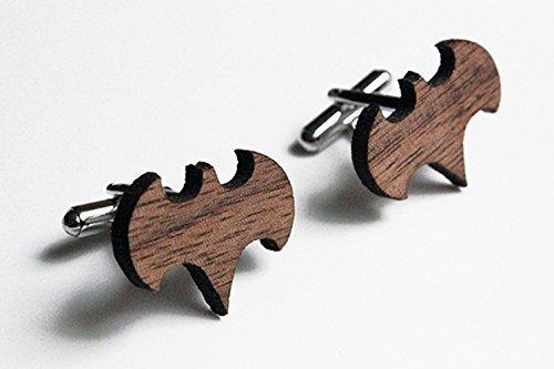 Laser cut batman cuff links made from walnut wood