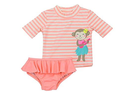 Baby Girls Carter's Rashguard Bathing Suit Set-- Striped Shirt & Bikini Bottoms 18 - Bikini Girl Bathing Hula Suit