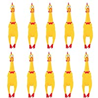 "HUAYUARTS 10 PCS Screaming Chicken Toy,7"" Rubber Chicken Noisemakers Shrilling Shrieking Squawking Rubber Chicken Squeaky Toy Wacky Fun Chicken Novelty Vent Toys Travel Christmas Birthday Gifts"