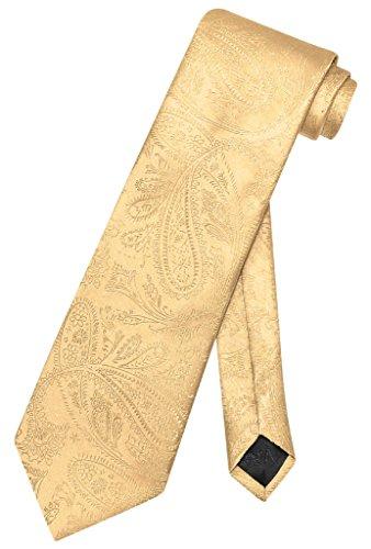 Vesuvio Napoli NeckTie GOLD Color Paisley Design Men's Neck Tie Neck Tie Design