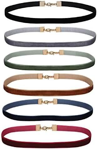 Women's Choker Velvet Ribbon Collar Set 6PC Ribbon Adjustable Neck
