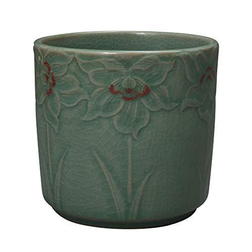 Korean Celadon Porcelain Embossed Flower Design Office Desk Desktop Pen Pencil Brush Green Ceramic Pottery Cup Case Box Holder Organizer Container Executive Gift ()