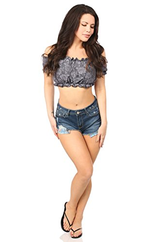 Daisy corsets Gray Lined Lace Short Sleeve Peasant Top - Daisy Lace Cami