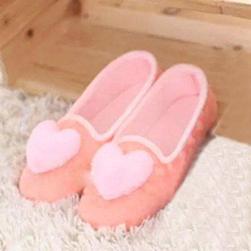 Amiley Womens Casual Cute Heart Slip-on House Slippers Flats Anti-slip Shoes Pink TZ1EMSVW3