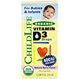 Child Life Organic Vitamin D3 Liquid, Natural Berry, .338 Fluid Ounce