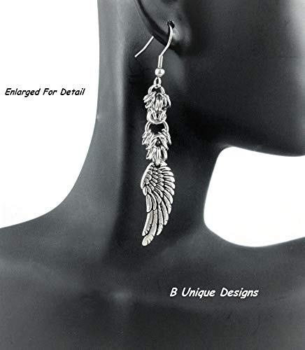 Angel Wings Silver Dangle Chainmaille Earrings, Handmade Women's Stainless Steel or Sterling Silver Jewelry Lacey Style Chain Mail Religious
