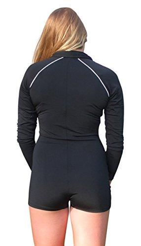 Stingray Black Women S Long Sleeve Zip Front Boyleg Rash