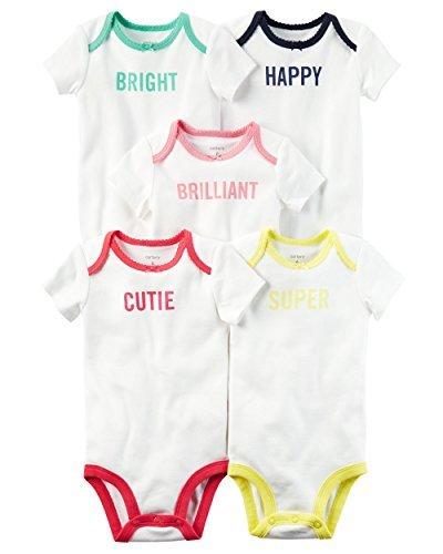 Carter's Baby Girls 5-Pack Short-Sleeve Original Bodysuits (Slogan) (3 Months)