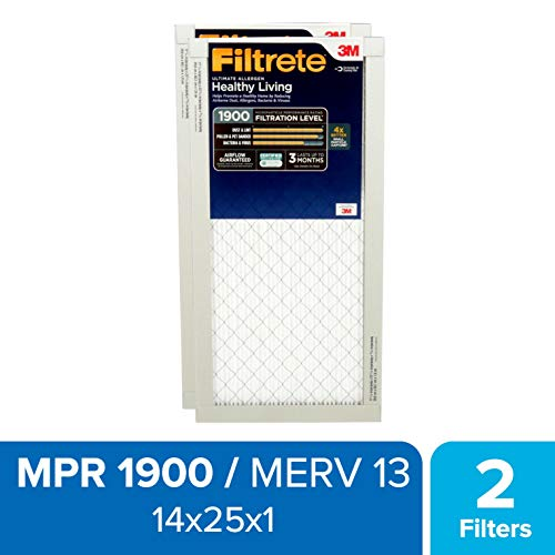 Filtrete 14x25x1, AC Furnace Air Filter, MPR 1900, Healthy Living Ultimate Allergen, 2-Pack (Filter 14 By 25)