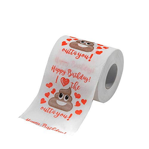 Fuyage Happy Birthday Funny Joke Prank Novelty Gag Gift Toilet Paper Bathroom Decor for Him or Her