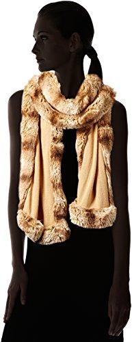 BADGLEY MISCHKA Women's Knit Wrap with Faux Chinchilla Trim, Camel/Almond, One Size