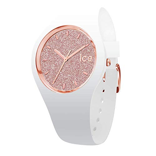 Ice-Watch – Ice Glitter White Rose-Gold – Women's Wristwatch with Silicon Strap