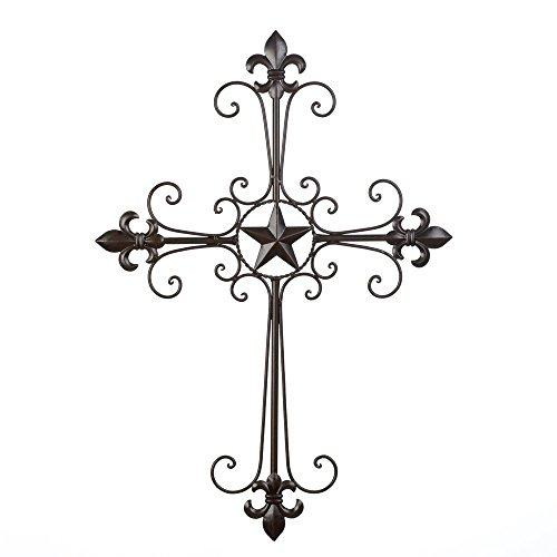 MyEasyShopping Lone Star Wall Cross Decor, Lone Star Wall Cross Spiritual Inspirational Home Decor, Wall Lone Star Cross Decor Rustic Texas Iron Cowboy Fleur De Lis Metal Art Home Christian Design