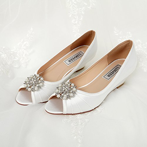 LUXVEER wedding shoes for bride ivory ,Low Heels Wedge 2 inch-EU40