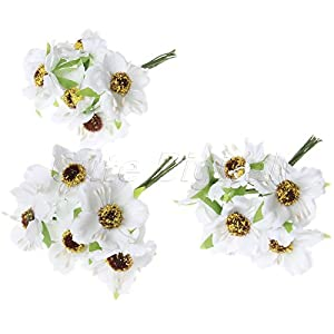 Chic Wedding Bridal Bouquet Party Decor Artificial Camellia Flowers DIY Craft white 6Pcs 37