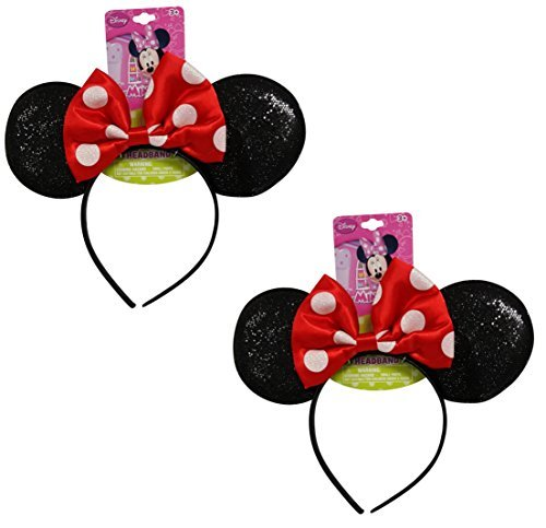 Genuine UPD Minnie Mouse Sparkled Ear Shaped Headband with Red Bow Disney Official Licensed (2 (Minnie Mouse Classic Adult Costumes)