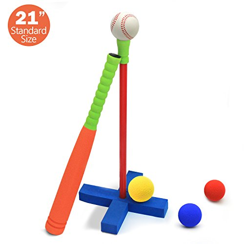 (CELEMOON 21-Inch Kids Soft Foam T Ball Baseball Set Toy, 4 Different Colored Balls, Carry/Organize Bag Included, for Kids Over 3 Years Old)