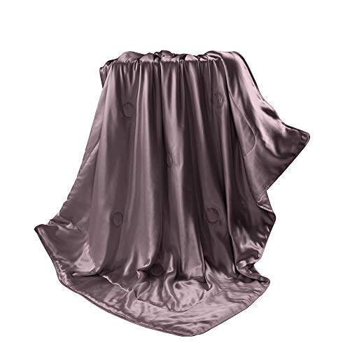Winter Weight Silk Blanket - THXSILK Silk blanket, Silk Throws, Silk Blanket Cover, Sofa Throws-Ultra Soft, Hypoallergenic, Breathable -100% Top Grade Mulberry Silk, Travel/Toddler Size, Purple