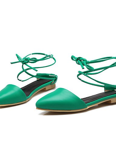 Sandaletten Green Lässig Grün Ballerinas Rot Absatz Flacher Damen Schwarz Kunstleder Damenschuhe für Holzschuh Neuheit Kleid ShangYi pxnFUTF