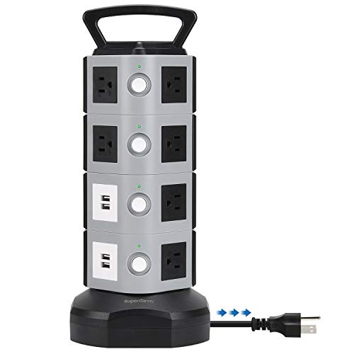 Surge Protector Power Strip Tower - SUPERDANNY 3000W 13A with 4.2A 4 USB Slot 14 Outlets 16AWG 6.5ft Heavy Duty Cord Wire Extension Electric Charging Station Universal Socket for iPhone iPad PC Laptop (Best Slots On The Strip)