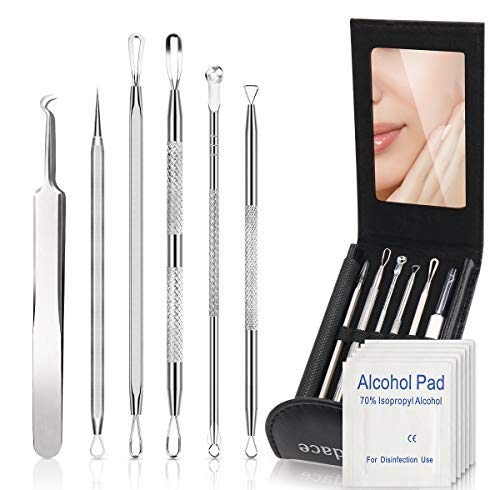 Blackhead Remover Comedone Extractor,Bedace Pimple Popper Tool Kit,6 PCS Stainless Tweezers Kit With A Leather Bag And 6 pcs Disinfectant Cotton. (Best Way To Close Pores)