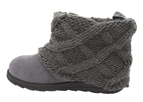 Knit Boots (Muk Luks Women's Patti Cable Cuff Boot (8 B(M) US, Grey/Grey))