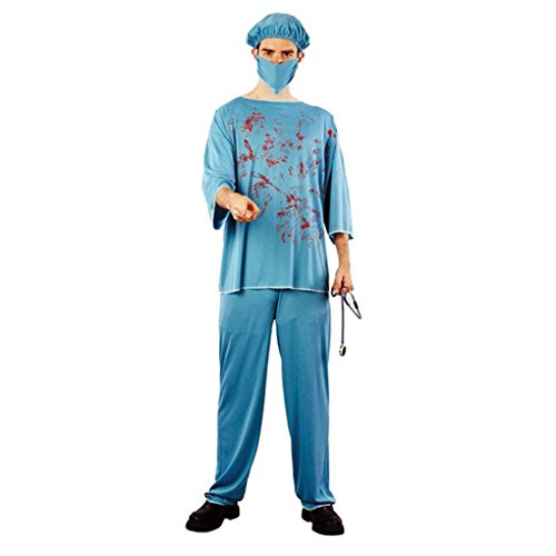 Scary Doctor Costume (Topfire Scary Doctor Nurse Uniform Costume with Fake Blood for Halloween Party Adult Men Women)