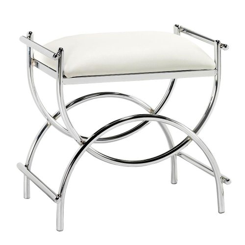 bathroom vanity stools. Curve Chrome Vanity Bench  19 5 Hx20 W PLTD STL CHROME Bathroom Stools Amazon com