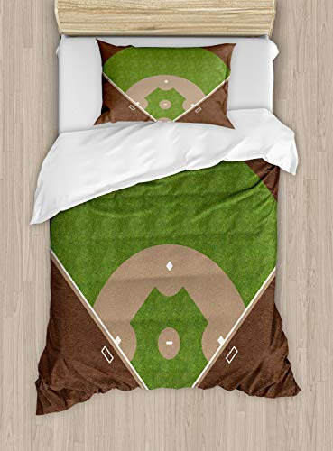 Lunarable Boy's Room Duvet Cover Set Twin Size, American Baseball Field with White Markings Painted on Grass Print, Decorative 2 Piece Bedding Set with 1 Pillow Sham, Lime Green Chocolate Tan ()