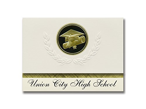 Signature Announcements Union City High School (Union City, MI) Graduation Announcements, Presidential style, Elite package of 25 Cap & Diploma Seal. Black & Gold. (Union City High School Union City Mi)