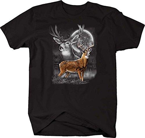 Wilderness Deer - Wilderness Big Buck Deer in The Moonlight with Antlers T Shirt - XLarge