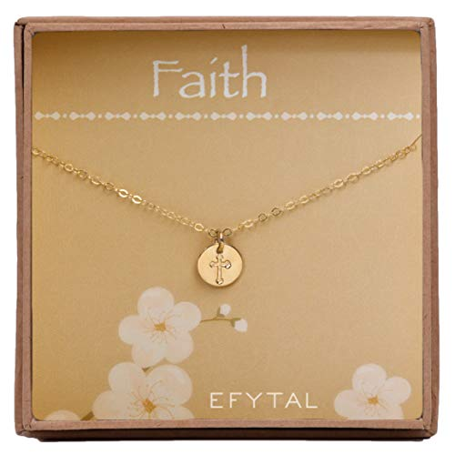 Disc Gold Filled (EFYTAL Tiny Gold Filled Faith Cross Necklace, Small Simple Dainty Disc Pendant, First Communion Gift for Girls and Women)