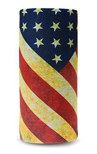 Geaux Sports Outfitters American Flag Bandana, Face Shield, Moisture Wicking Multi-Functional UV Protection Headband ()