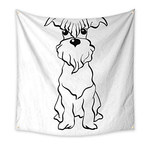 Party Decorations Tapestry Vector Sketch Miniature Schnauzer Dog Sitting Bedroom Living Room Dorm 32W x 32L Inch