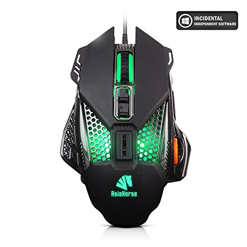 AsiaHorse Mechanical Gaming Mouse Wired RGB Backlit 8 Programmable Buttons 4800 DPI,4 Adjustable DPI Levels,16.8 Million Click Color Breathing Lights(Black) (Operation Orange Of Leaf Hours)