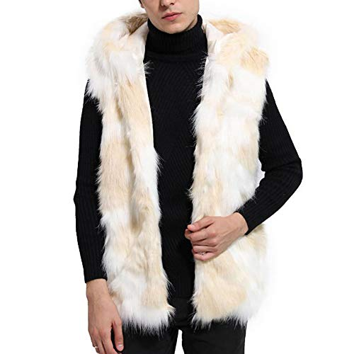 kaifongfu Parka Outwear Cardigan,Thick Vest Faux Fur Parka Men Coat Jacket(Beige,M)