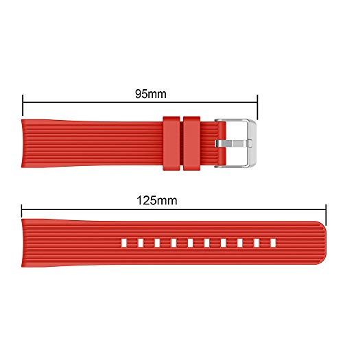 Insaneness Pure Colour Stripe Soft Silicone Watch Band Band Strap for Samsung Galaxy Watch (Red, 42mm) by Insaneness (Image #3)