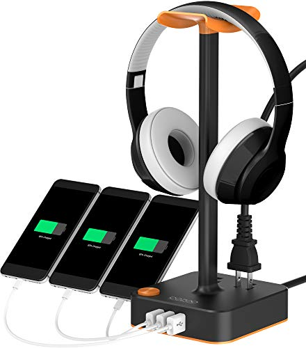 Headphone Stand with USB Charger COZOO Desktop Gaming Headset Holder Hanger with 3 USB Charger and 2 Outlets - Suitable for Gaming, DJ, Wireless Earphone Display