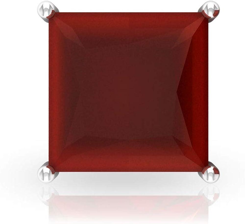2.8Ct SGL Certified Red Onyx Solitaire Stud Earring, Princess Cut Gemstone Wedding Earring, Women Statement Earring, Bridesmaid Gold Earring, Screw Back