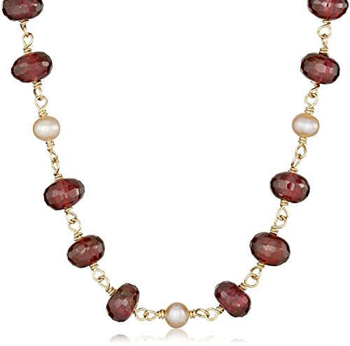 Gold-Filled-Linked-Garnet-Rondelles-and-Natural-Pink-Freshwater-Cultured-Pearls-14k-Clasp-Necklace-17