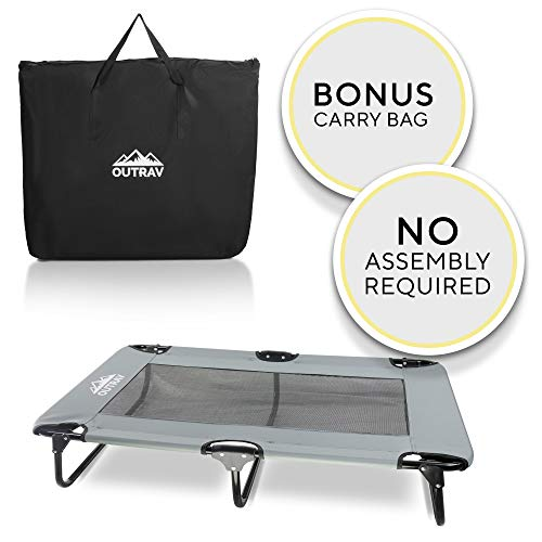 Outrav Elevated Dog Cot with Steel Frame - Foldable Raised Play and Rest Bed for Dogs and Cats - Heavy Duty Strong Material - Pet Cot with Bonus Storage Bag (Large 42 x 24 x 8, Grey)